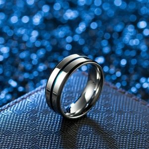 Stainless Steel w/ Blue Center - Titanium Ring